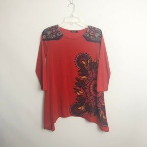 Desigual Tops - Desigual Womens Top Size M Red Embroidered Tunic